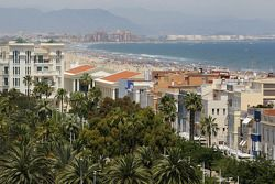 The beach and city of Valencia
