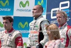 Pastor Maldonado celebrates his victory on podium with Jules Bianchi and Sam Bird