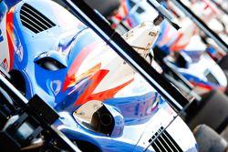 Detail van de bodywork van de auto van Nico Muller