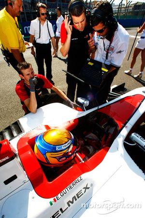 GP3 and ART engineers work on the car of Esteban Gutierrez