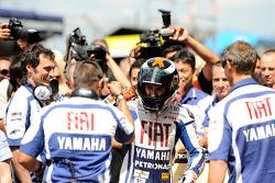 Race winner Jorge Lorenzo, Fiat Yamaha Team celebrates