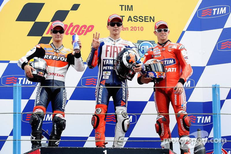 2010: 1. Jorge Lorenzo, 2. Dani Pedrosa, 3. Casey Stoner