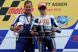 Podium: race winner Jorge Lorenzo, Fiat Yamaha Team with Wilco Zeelenberg