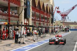 Lewis Hamilton, McLaren Mercedes takes his drive through penalty