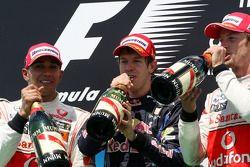 Podium: 1. Sebastian Vettel, 2. Lewis Hamilton, 3. Jenson Button