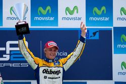 Marcus Ericsson celebrates his victory on the podium