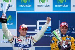 Marcus Ericsson celebrates his victory with Giedo Van der Garde