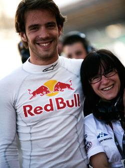 Jean-Eric Vergne with a team member
