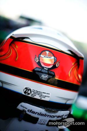 Detail on the helmet of Daniel Morad