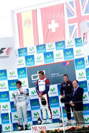 Nico Muller celebrates on the podium with Roberto Merhi and James Jakes
