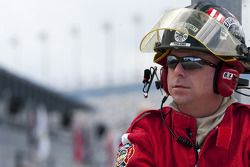 Local Fire Fighter watches the Nationwide practice