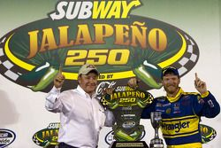Victory lane: race winner Dale Earnhardt Jr. celebrates with Richard Childress