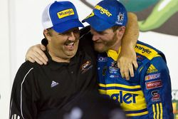 Victory lane: race winner Dale Earnhardt Jr. celebrates with Tony Eury Jr.