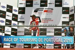 Podium: race winner Jolyon Palmer