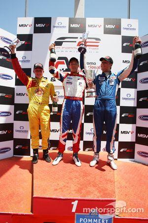 Podium: race winner Jolyon Palmer, second place Benjamin Bailly, third place Jack Clarke