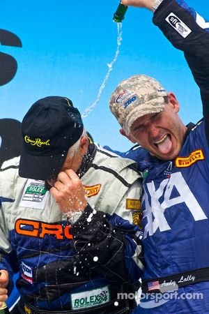 GT podium: class winners Andy Lally and RJ Valentine celebrate