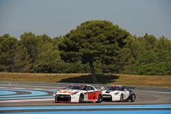#3 Swiss Racing Team Nissan GT-R: Karl Wendlinger, Henri Moser, #23 Sumo Power GT Nissan GT-R: Michael Krumm, Peter Dumbreck