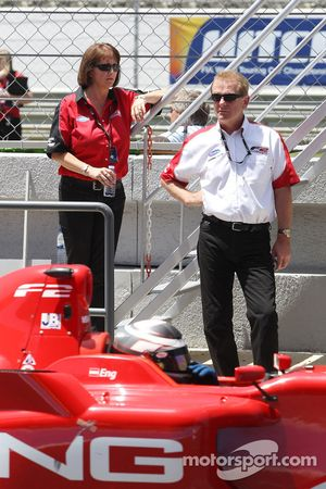 Jonathan Palmer, CEO MotorSport Vision, watches Philipp Eng from the pit wall