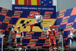 Podium: race winner Jorge Lorenzo, Fiat Yamaha Team, second place Dani Pedrosa, Repsol Honda Team, third place Casey Stoner, Ducati Marlboro Team