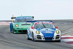 #81 Alex Job Racing Porsche 911 GT3 Cup: Juan Gonzalez, Butch Leitzinger; #17 Team Falken Tire Porsc