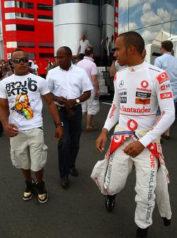 Nicholas Hamilton, Brother of Lewis Hamilton with Anthony Hamilton, Father of Lewis Hamilton and Lewis Hamilton, McLaren Mercedes