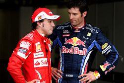 Derde plaats Fernando Alonso, Scuderia Ferrari, 2de Mark Webber, Red Bull Racing