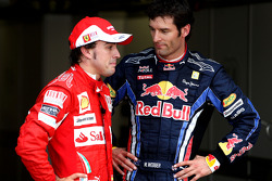 Derde plaats Fernando Alonso, Scuderia Ferrari, 2de Mark Webber, Red Bull Racing