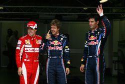 Polepositie Sebastian Vettel, Red Bull Racing, 2de Mark Webber, Red Bull Racing en 3de Fernando Alon