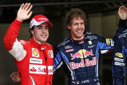 Polepositie Sebastian Vettel, Red Bull Racing, 3de Fernando Alonso, Scuderia Ferrari