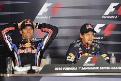 Persconferentie: polezitter Sebastian Vettel, Red Bull Racing, 2de Mark Webber, Red Bull Racing