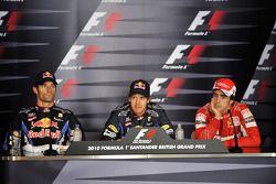 Persconferentie: polezitter Sebastian Vettel, Red Bull Racing, 2de Mark Webber, Red Bull Racing en 3