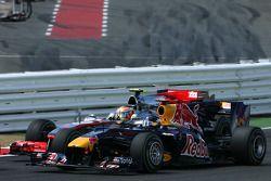 Start: Sebastian Vettel, Red Bull Racing en Lewis Hamilton, McLaren Mercedes