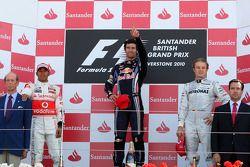 Podium: Sieger Mark Webber, 2. Lewis Hamilton, 3. Nico Rosberg