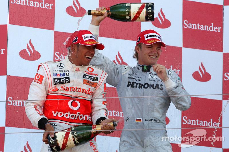 Podium: 2e Lewis Hamilton, McLaren Mercedes, 3e Nico Rosberg, Mercedes GP