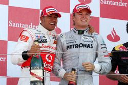 Podium: 2. Lewis Hamilton, McLaren-Mercedes; 3. Nico Rosberg, Mercedes GP