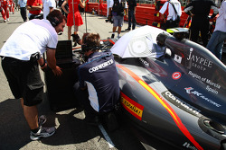 A cosworth engineer working on the car of Sakon Yamamoto, Hispania Racing F1 Team