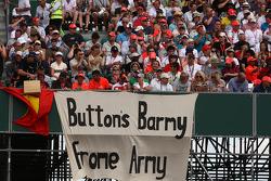 A banner for Jenson Button, McLaren Mercedes