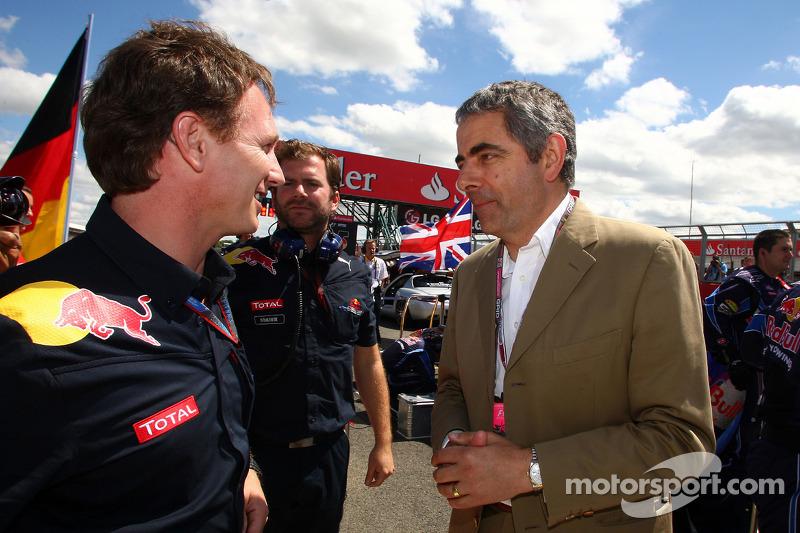 Christian Horner, Red Bull Racing, Sporting Director con Rowan Atkinson, alias Mr. Bean