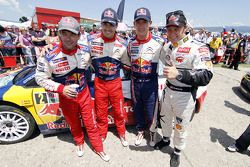 Winner Sébastien Loeb, second place Daniel Sordo, fourth place Sébastien Ogier and third place Pette