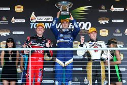 Podium: Garth Tander takes out third, Mark Winterbottom takes out first and James Courtney takes second