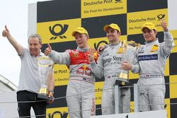 Podium: race winner Jamie Green, Persson Motorsport AMG Mercedes C-Klasse with Igmar Persson, Team Owner Persson Motorsport, second place Mattias Ekström, Audi Sport Team Abt Audi A4 DTM, third place Bruno Spengler, Team HWA AMG Mercedes C-Klasse