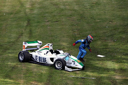 Parthiva Sureshwaren crashed during qualifying 2, bringing out the red flags