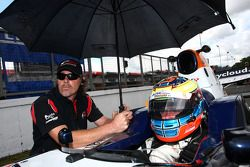 Race 1 pole sitter and winner Dean Stoneman waits on the grid