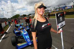 Formula Two grid girl for Jack Clarke