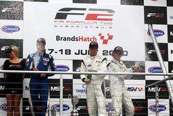 Podium: race winner Dean Stoneman, second place Jack Clarke, third place Ivan Samarin