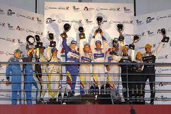 LMP1 podium: class et toutes catégories vainqueurs Oliver Panis, Nicolas Lapierre et Stéphane Sarrazin, 2e Nicolas Prost et Neel Jani, 3e Pierre Ragues, Franck Mailleux et Vanina Ickx, Michelin Green X Challenge vainqueurs Julien Schell et Freder