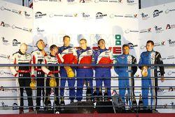 LMP2 podium: vainqueurs de la catégorie Thomas Erdos, Mike Newton et Ben Collins, 2e Karim Ojjeh, Tim Greaves et Thor-Christian Ebbesvik, 3e Julien Schell et Frederic Da Rocha