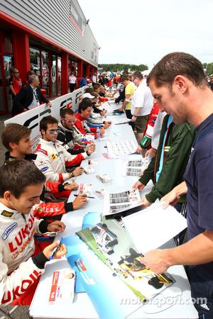 Sergey Afanasiev in the Formula Two drivers autograph session