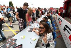 Natalia Kowalska in the Formula Two drivers autograph session