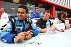 Parthiva Sureshwaren; Dean Stoneman and Natalia Kowalska in the Formula Two drivers autograph session
